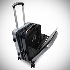 Smart Suitcase: The Space Case 1 Is A Suitcase Loaded With Tech Feature Here's a quick rundown of what it does: – Digital BioLock using fingerprint (or smartphone) -Global Tracker -Digital Self-Scale -3 USB ports, Charging station -Bluetooth phone -Proximity Alarm