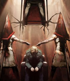 Silent Hill Pyramid Head and James Wallpaper Silent Hill 2, Silent Hill Video Game, Arte Horror, Horror Art, The Dark Side, Pyramid Head, Horror Video Games, Video X, Survival
