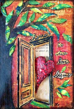 """""""I had an old book that was falling apart.  It was too fragile for a journal.  So I decided to alter it to be a home for [this] heart."""" Love the altering of the book, use of the stencil(s), the gelli-printed papers - the whole thing."""