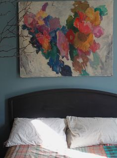 wall art, insid space, abstract art, above the bed, nest, bedroom colors, inspir, sleep, painting patterns