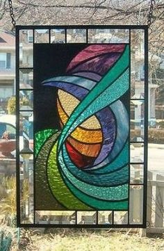 HARMONIOUS-CURRENTS-Stained-Glass-Window-Panel-Signed-and-