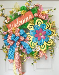 Welcome Spring and Summer Mesh Wreath by WilliamsFloral on Etsy https://www.etsy.com/listing/227087777/welcome-spring-and-summer-mesh-wreath