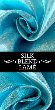 Silk Blend Doubleface Lamé in Aqua Blue (Made in France) Lame Fabric, Fabric Board, Kinds Of Fabric, Fabric Names, Fabric Textures, Fabric Swatches, Fashion Fabric, Aqua Blue, Fabric Flowers
