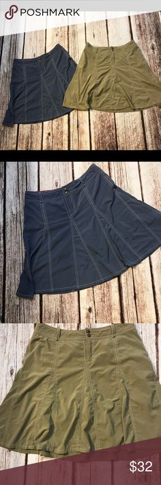 Athleta whatever flare skirts Lot Two flare athleta what ever skirts both are in good condition but have two small flaws tan has a oil spot and blue has a tiny hole Athleta Skirts Circle & Skater