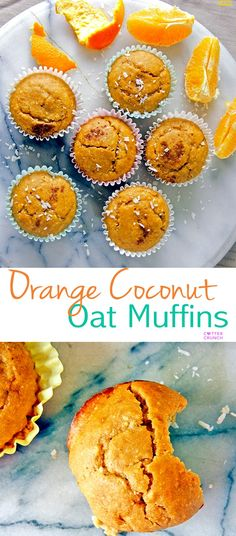 Naturally Sweet with no sugar added, these gluten free orange coconut oat muffins are the great for any time of day.  Snacking, breakfast, or post workout! Plus they take less than 30 minutes to make!  www.cottercrunch.com via @lin