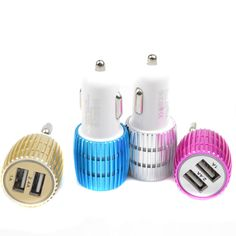Universal 5V 2.4A Aluminum Car Charger Dual USB Port USB Car Charger Adapter For Samsung for iPhone 5 5s 6 6 plus for iPad