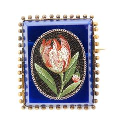 An early to mid 19th Century 9ct mounted micromosaic brooch with rectangular lapis lazuli centred by an oval panel depicting a frilled tulip against a black ground and bordered by red, black and white millefiori tiles, the whole within a beaded frame.