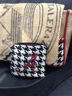 Alabama Crimson Tide burlap purse with little zippered pouch