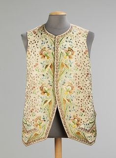 Waistcoat 1780, French, Made of silk