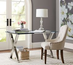 $549 w/free delivery 52W x 28D x 30H 86lbs, Polished nickel finish, Ava Metal Desk #potterybarn