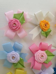 Easter Hair Bow Small Hairbow Polka Dot by OneofEverythingBows Ribbon Hair Bows, Diy Hair Bows, Diy Ribbon, Ribbon Crafts, Dog Bows, Baby Bows, Felt Flowers, Fabric Flowers, Diy Arts And Crafts