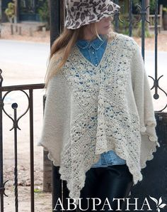 Knit a couple squares, then join with crochet! Knitted Shawls, Crochet Scarves, Crochet Shawl, Crochet Clothes, Poncho Shawl, Crochet Instructions, Crochet Fashion, Diy Crochet, Crochet Patterns