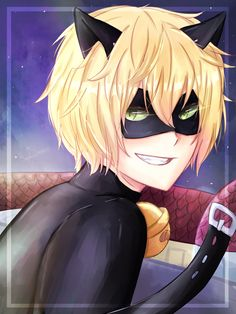 The mischievous grin (by Sapphire240400, Miraculous Ladybug, Chat Noir)