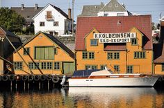 """Haugesund harbour These two houses at the Haugesund harbor are the most popular photo objects of the town. """"Sild"""" means herring, which was a very important income source for the town earlier."""