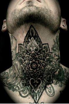 Black Pattern Neck Tattoo #tattooideaslive #black  #neck #tattoos