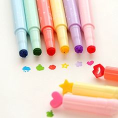 Kawaii Stamp Markers Watercolor Pen for School Supplies, 6-pack U&M2 www.amazon.com/...