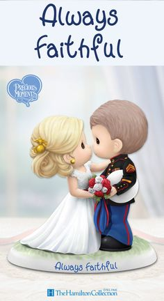 "Say ""I do"" to this heartwarming Precious Moments figurine featuring a loving bride and her Marine! Handcrafted in fine bisque porcelain and exquisitely hand-painted, now you can celebrate a lifetime of loyalty and love with this limited-edition figurine:"