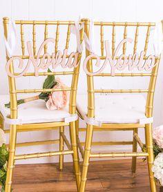 Novia & Novio Wedding Chair Signs in Spanish - Travel Wedding themes and destination wedding ideas for the bride and groom.