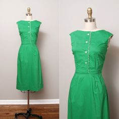 1950s Dress  Summer Green 50s Wiggle Dress by OldFaithfulVintage, $60.00