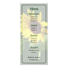Designs by Susan Savad - Sunflower Looking Down Wedding Menu -- Sunflower wedding menu that you can customize yourself. #wedding #weddingmenu #customize #flower #flowers #sunflower #sunflowers #summer   $0.55  per card   BULK PRICING AVAILABLE!