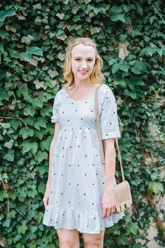 A white polka dot dress is a great casual look for running errands or meeting a friend for lunch. #ssCollective #ShopStyleCollective #ootd #mylook #MyShopStyle #springstyle #currentlywearing #lookoftheday #summerstyle #wearitloveit #getthelook #todaysdetails #polkadots