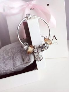 50% OFF!!! $199 Pandora Charm Bracelet Pink White. Hot Sale!!! SKU: CB01772 - PANDORA Bracelet Ideas