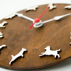 Dog clock with different dog's pose