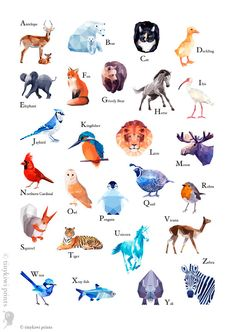 ABC Print Alphabet poster abc animals Animal by tinykiwiprints, $14.99