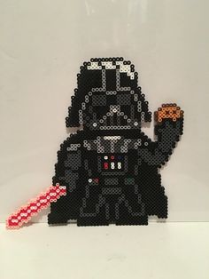 Star Wars - Darth Vader with Cookie Perler Beads Melty Bead Patterns, Pearler Bead Patterns, Perler Patterns, Perler Bead Templates, Diy Perler Beads, Perle Hama Star Wars, Pixel Art, Perler Bead Mario, Star Wars Crafts