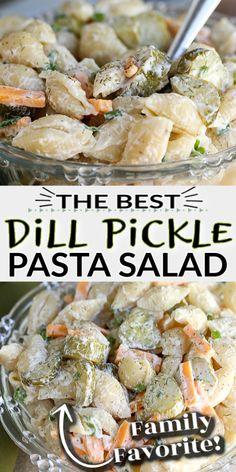 Best Pasta Salad, Summer Pasta Salad, Pasta Salad Recipes, Summer Salads, Dill Pickle Pasta Salad Recipe, Creamy Pasta Salads, Shrimp Recipes, Vegetarian Recipes, Cooking Recipes