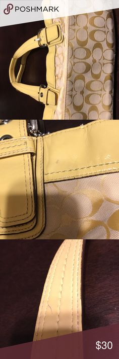 Coach purse Cute yellow coach.  2 tiny marks.  One light pen mark and dark spot on front. I'm not sure how it got there, it's been in my closet.  Price reflects imperfections. Coach Bags