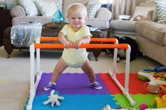 Make a pull up bar for your baby with these simple materials. Inexpensive and fun, your baby will have a blast! Only from The Mabelhood.