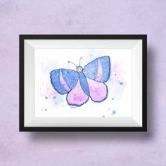 Purple and blue nursery art for little girls rooms. Delight your daughter with this cheerful butterfly baby print. Blue and lavender with splashes of spatter create this adorable art for her room. Learn more at Little Splashes of Color! Butterfly Nursery, Butterfly Art, Purple Butterfly, Butterflies, Nursery Prints, Nursery Wall Art, Bedroom Wall, Nursery Ideas, Nursery Decor