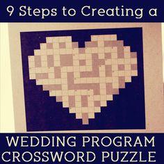DIY Wedding Program Crossword Puzzle. What a great idea! #weddingprogram