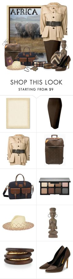 """""""Africa"""" by dgia ❤ liked on Polyvore featuring LE3NO, Yves Saint Laurent, Louis Vuitton, Longchamp, Smashbox, Brooklyn Hat Co., NOVICA, NEST Jewelry and Rupert Sanderson"""