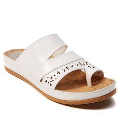 PureSole™ Caroline Leather Toe-Loop Slide Sandal - White