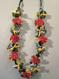 Red and Yellow Graduation Money Lei by PCbyMarilyn on Etsy