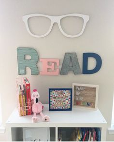 My Nieces little reading nook! I lllloooovvveee it! But I might have an obsession with oversized words on my wall! #truestory  #read she said the letters are from @michaelsstores and the glasses she got off @veryjane #madewithmichaels