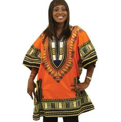 """Amazon.com: King-Sized Traditional Print Unisex Dashiki Top - Up to 70"""" Chest - In Several Colors: Clothing"""