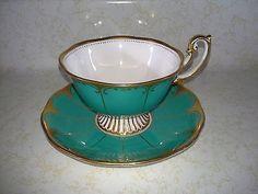 Royal Albert Tea Cup & Saucer  Green with Gold Scroll