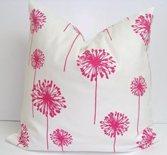 Pink Pillow.18x18 inch Decorator Pillow Cover..Printed Fabric Front and Back.Dandelion.Flower.Girl's Room Decor
