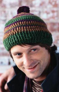 Free Crochet Retro Stripes Hat Pattern.