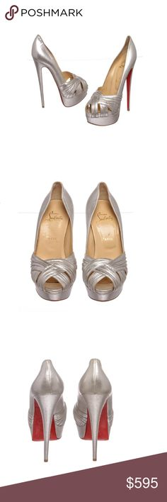 Christian Louboutin Leather Heels Shoes 39.5 Metallic silver Christian Louboutin leather Aborina 150 heels. Designer size 39.5.  Shop AUTHENTIC Christian Louboutin shoes at MARQUE SUPPLY COMPANY.  2739MSC Christian Louboutin Shoes Heels