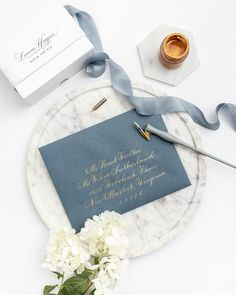 Metallic ink can really make a wedding envelope pop! For our supplies Calligraphy Supplies, Calligraphy Paper, Calligraphy Envelope, Learn Calligraphy, Wedding Calligraphy, Modern Calligraphy, Envelope Addressing, Simple Lettering, Lettering Styles