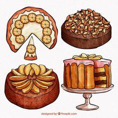 Watercolor Wedding Cake, Watercolor Food, Cake Illustration, Food Illustrations, Fruit Sketch, Chibi Kawaii, Halloween Cake Pops, Macaron Cake, Cute Food Art