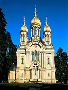 This Russian church sat on a hill above Wiesbaden Germany, an iconic fixture on the horizon
