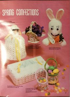 Instructions for 33 projects in knit and crochet  Crochet blanket, cushion covers, toys, dolls clothes, shawls, Easter baskets, lacy jacket, toilet roll cover, owls, Christmas decorations, flowers, gifts, afghan, pillow, soft body dolls, shawl, tissue box cover, small flower basket, Christmas items, Easter items, kitchen items  Vintage 1981 Pattern Book