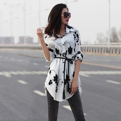 Embroidery Flower Rose Lapel Cotton Long Sleeve Dressy Blouses