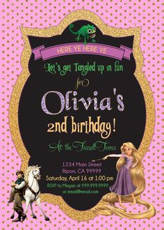 Rapunzel Birthday Invite Tangled Party Invitation