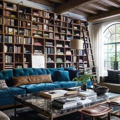Home Library Window Family Rooms 34 Ideas Home Library Design, Home Interior Design, House Design, Room Interior, Design Interiors, Interior Architecture, Home Living, Living Spaces, Living Room